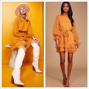Lulus Marigold Yellow Ruffled Long Sleeve Dress